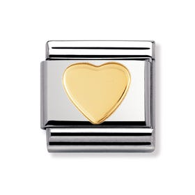 Stainless Steel and 18ct Gold Heart Classic Charm