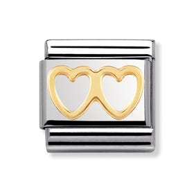 18ct Gold Double Heart Classic Charm