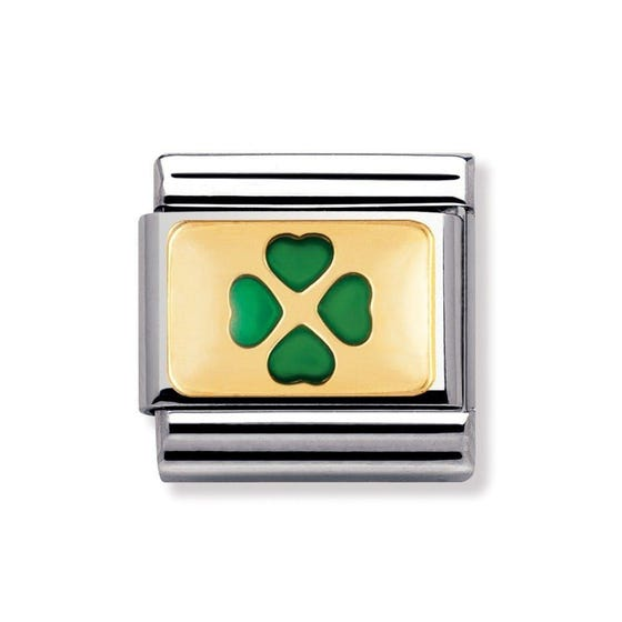 18ct Gold & Green Four-Leaf Clover Classic Charm