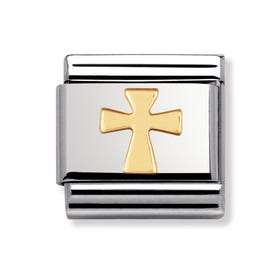 Stainless Steel and 18ct Gold Cross Classic Charm