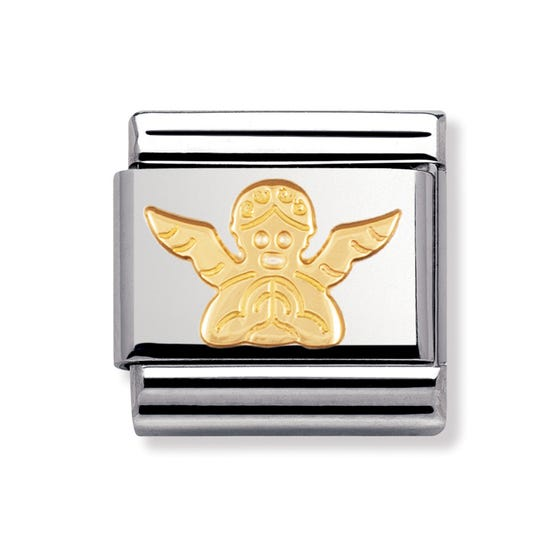 Stainless Steel and 18ct Gold Angel Classic Charm