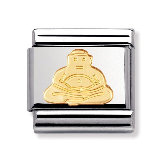 Stainless Steel and 18ct Gold Buddha Classic Charm