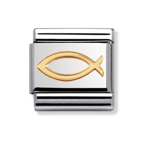 Stainless Steel and 18ct Gold Ichthys Classic Charm