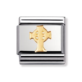 Stainless Steel and 18ct Gold Celtic Cross Classic Charm