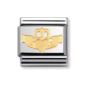 Stainless Steel and 18ct Gold Claddagh Classic Charm