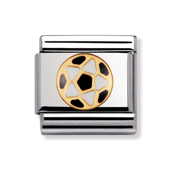 18ct Gold Black & White Football Classic Charm