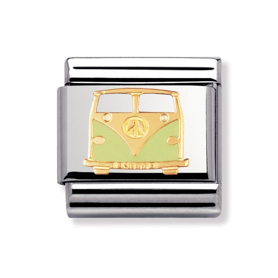 Stainless Steel, 18ct Gold and Enamel Van Classic Charm
