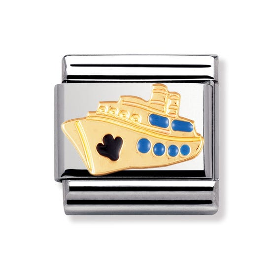 18ct Gold and Enamel Ship Classic Charm