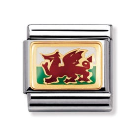 18ct Gold and Enamel Wales Classic Charm