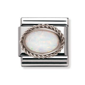 Silver & Opal October Birthstone Classic Charm
