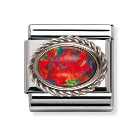 Stainless Steel and Silver Red Opal Classic Charm