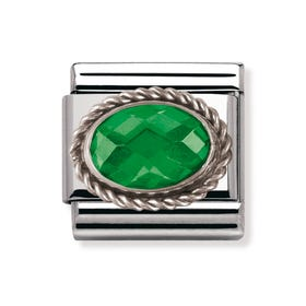 Stainless Steel and Silver Green Cubic Zirconia Classic Charm