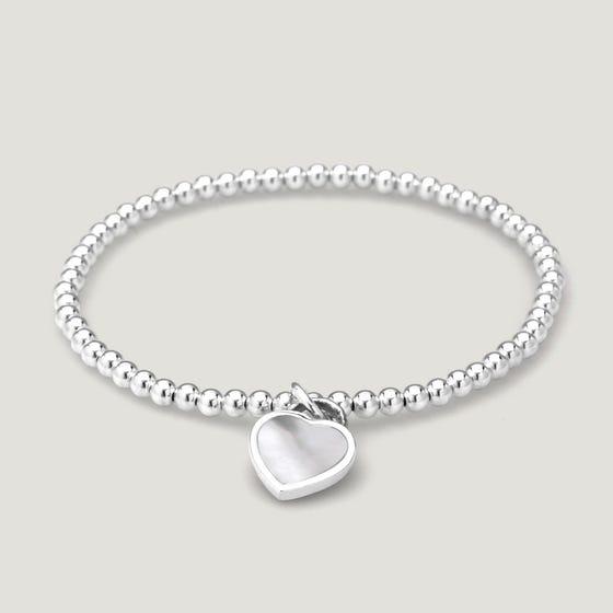 Love Silver & Mother of Pearl Heart Bracelet
