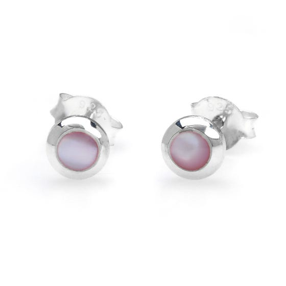 Sophia Silver & Pink Mother of Pearl Earrings