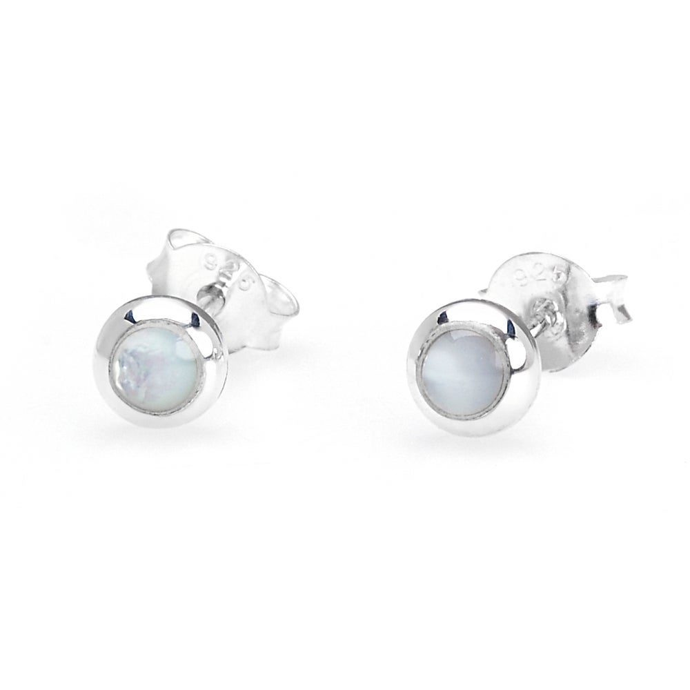 John Greed Athena Silver & White Mother of Pearl Earrings