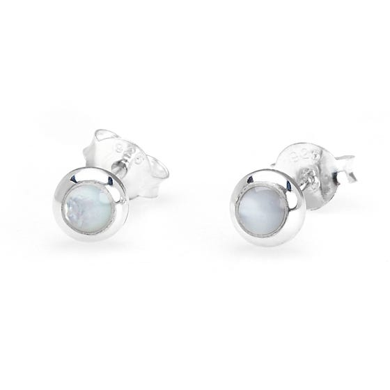 Athena Silver & White Mother of Pearl Earrings