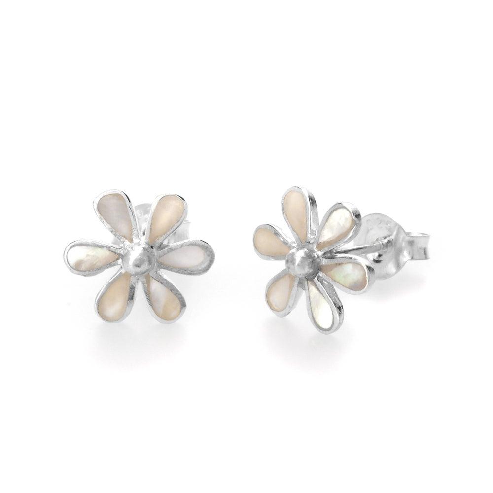 John Greed Meadow Silver & Mother of Pearl Flower Earrings