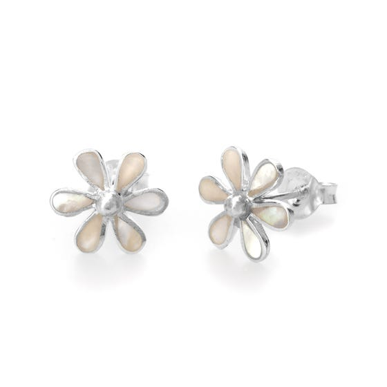 Meadow Silver & Mother of Pearl Flower Earrings